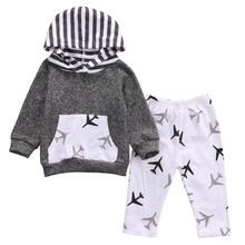 2017 Newborn Toddlers Kids Baby Girls Boys Airplanes Long Sleeves Hooded Tops+Pants Cotton Outfits Set Children Clothing Outwear