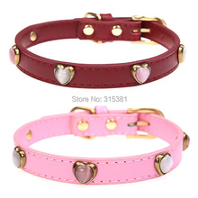 BA2002 Free Shipping Real Split Leather Dog Collar with Cat Eye Heart Beads for Small and Large Puppy Dog 2015 New Pet Products