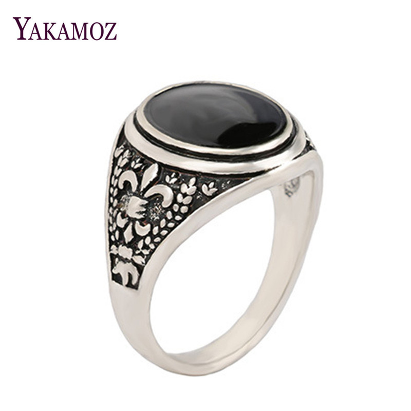 YAKAMOZ Hot Sale Big Black Rhinestone Signet Ring for Women Men Punk Unique Design Flower Carving Stone Ring Party Gifts
