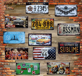 USA Metal Tin Signs Route 66 Car Number Plates License Metal Poster Plaque Bar Club Garage Motorcycle Tin Home Decor Metal sign