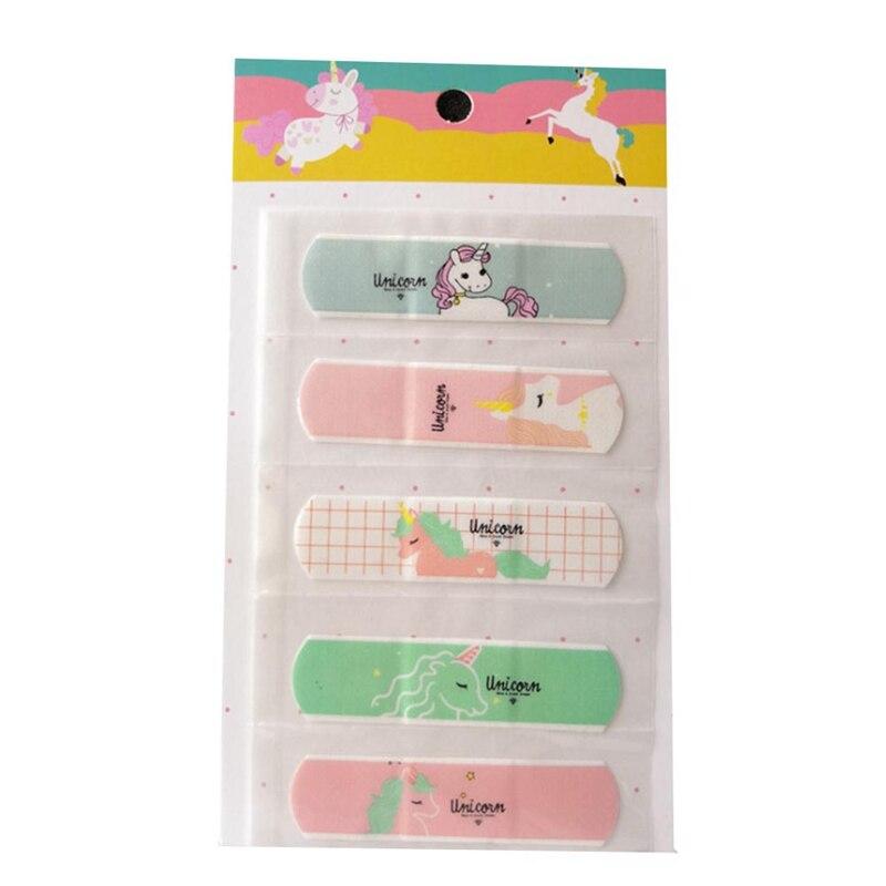 10 pces/2 conjunto à prova dwaterproof água dos desenhos animados bandagem adesivo bebê crianças cuidados primeiros socorros banda viagem kit de emergência