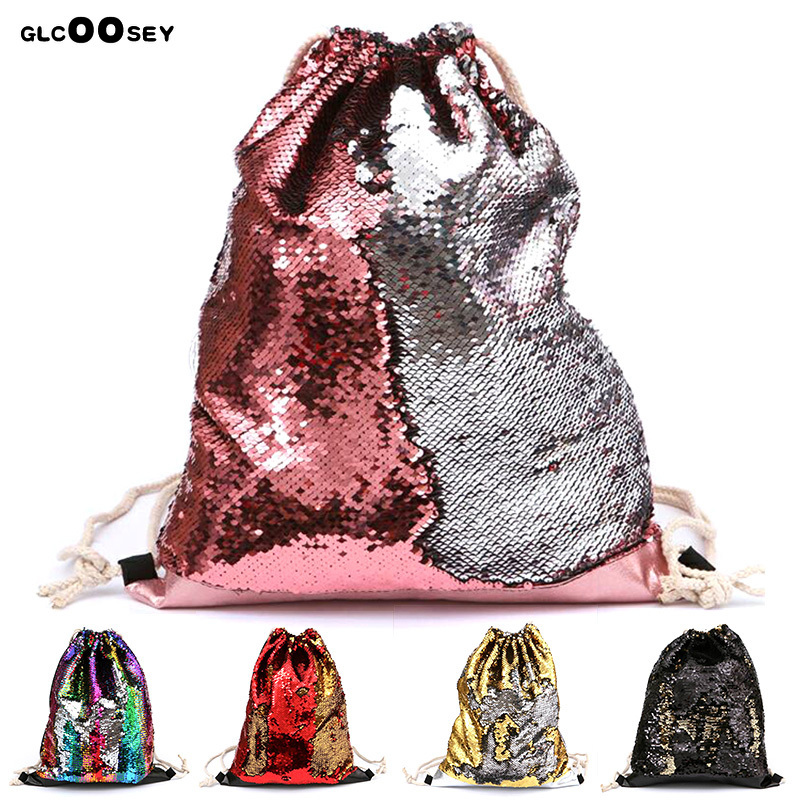 New Women Mermaid Sequin Sports Drawstring Bag Double Color Shiny Sequins Outdoor Leisure Backpack Running Chest Drawstring Bags