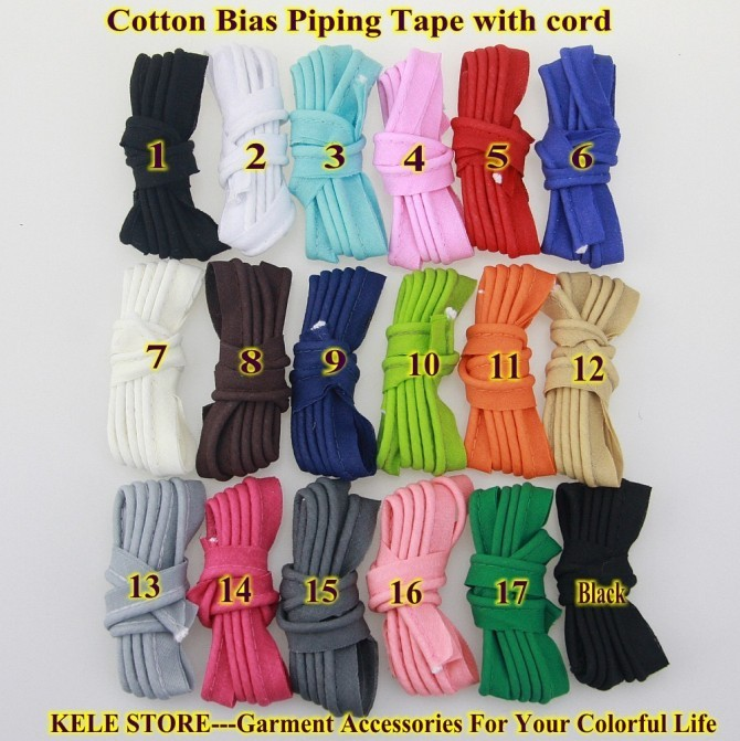 Image 5 - Free shipping  100% Cotton Bias Piping, Piping tape,bias Tape with cord,size:12mm,50yds,for DIY sewing textile solid col Blackbias pipingpiping tapebias tape with cord -