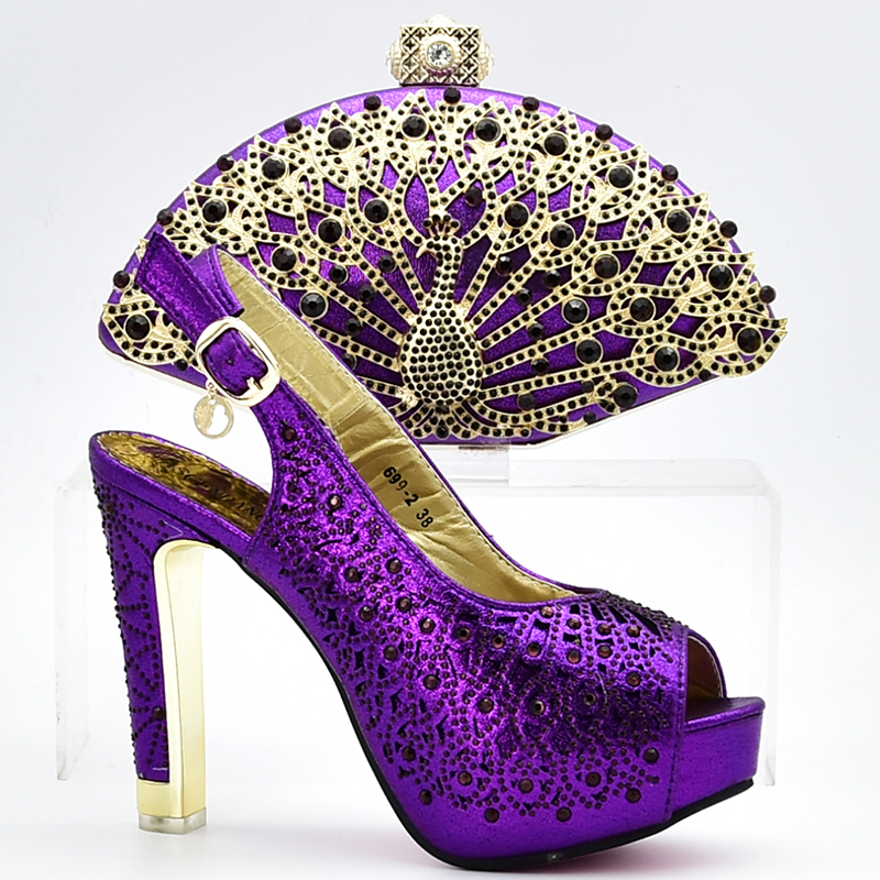 Newest Purple Italian Ladies Shoes and Bags To Match Set for Party Women Shoe and Bag Set African Sets 2018 Shoes with Cystal latest african women shoes and bags set women shoe and bag to match for parties italian design shoes and bag for party bch 37