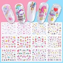 Autocollants en forme de licorne arc en ciel pour ongles, filigrane, ailes, jolies décorations dart des ongles, tatouage de manucure, 12 modèles, LABN1057 1068