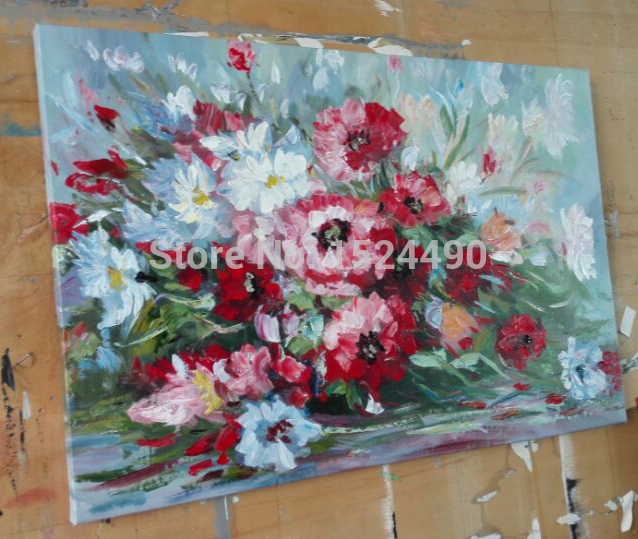Free Shipping Pure Handmade On Canvas Realistic Flowers Oil Painting Modern Home Decoration Art Wall Picture 40X60CM