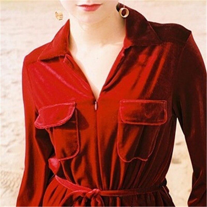 Mode Cravate Printemps Nouveau Pantalon De Velours Femelle Ael Combinaisons claret Rabattu Dark Blue Uni Collar2018 Vêtements Combinaison Femmes Barboteuses 86w4zqZ