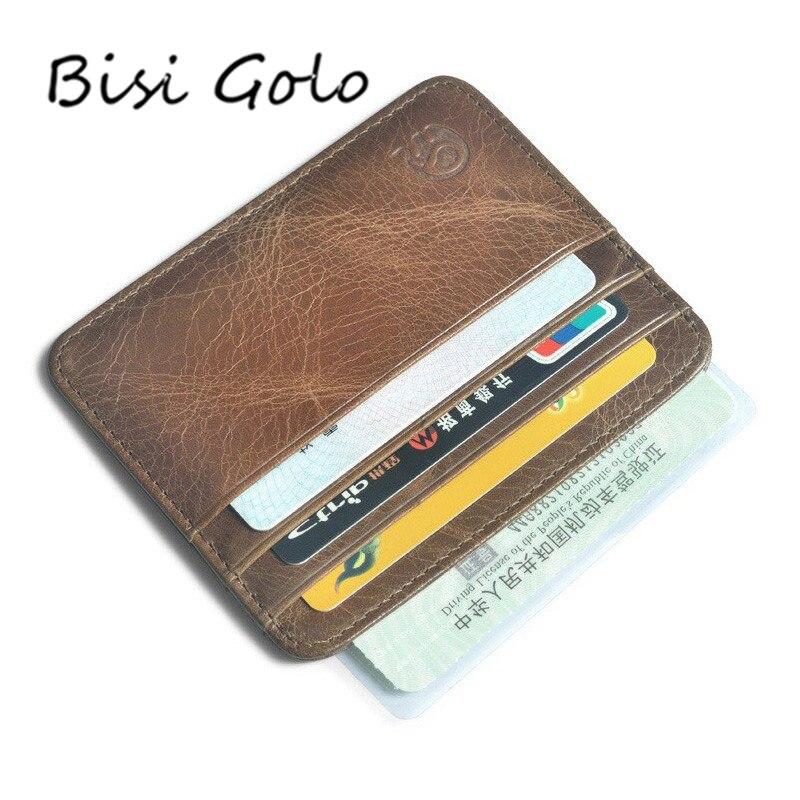 BISI GORO Männer Brieftasche Kartenhalter Bank Karteninhaber Leder Kuh Pickup Paket Bus Kartenhalter Dünne Leder karte-bit Packsack