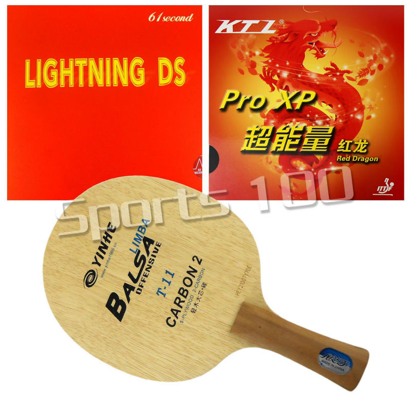 Pro Combo Racket Galaxy YINHE T-11+ Blade Long Shakehand-FL With 61second Lightning DS and KTL Pro XP Red Dragon Rubbers pro combo racket galaxy yinhe t 11 blade with ktl rapid soft yasaka era 40mm no ittf rubbers