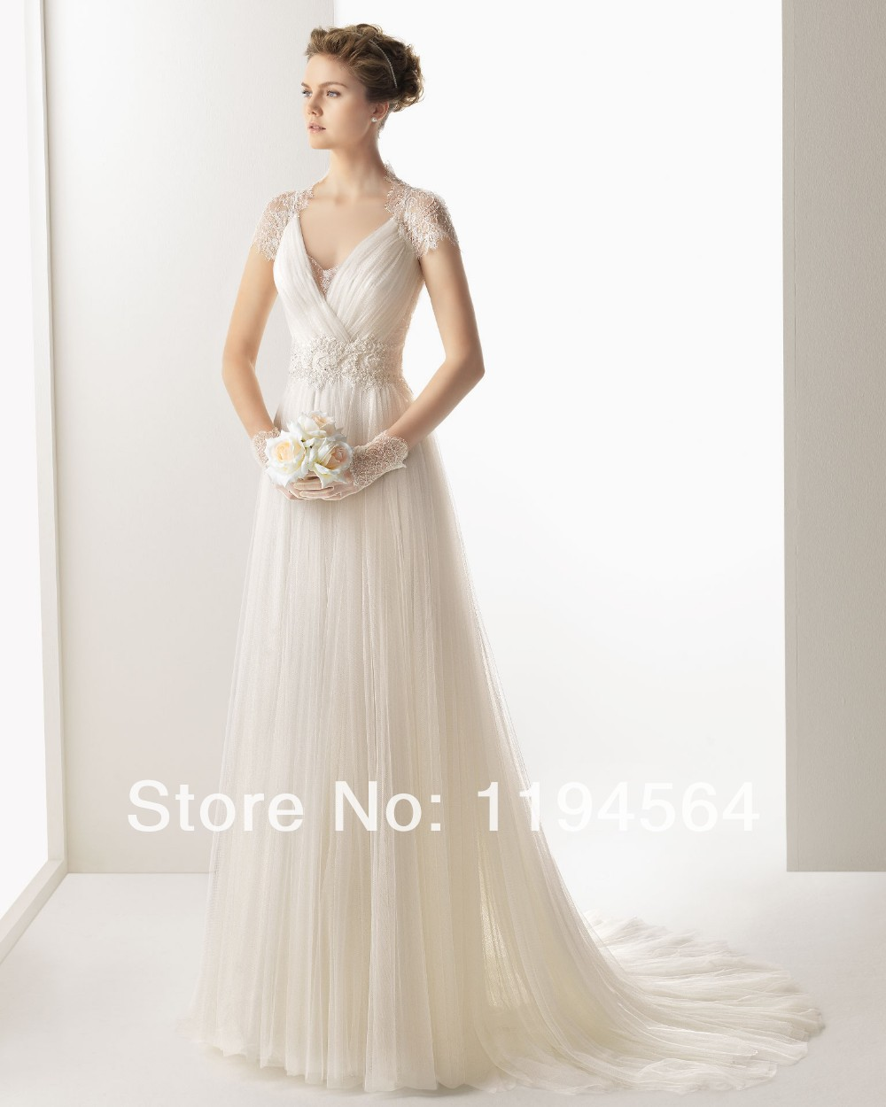 2014 vintage sexy free shipping simple white beach wedding guest dresses empire a line v