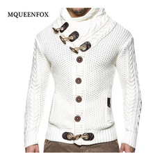 Мужские Новые пуловеры, свитер, пальто, высокий воротник, пряжка, облегающая одежда, мужские свитера, пуловеры, зимняя вязаная одежда, свитер