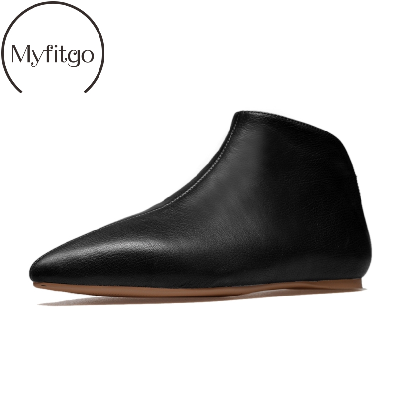 Myfitgo 2019 Fashion Women Flat Ankle Boots Cow Leather Pointed Toe Unsex Ankle Boots Real Casual
