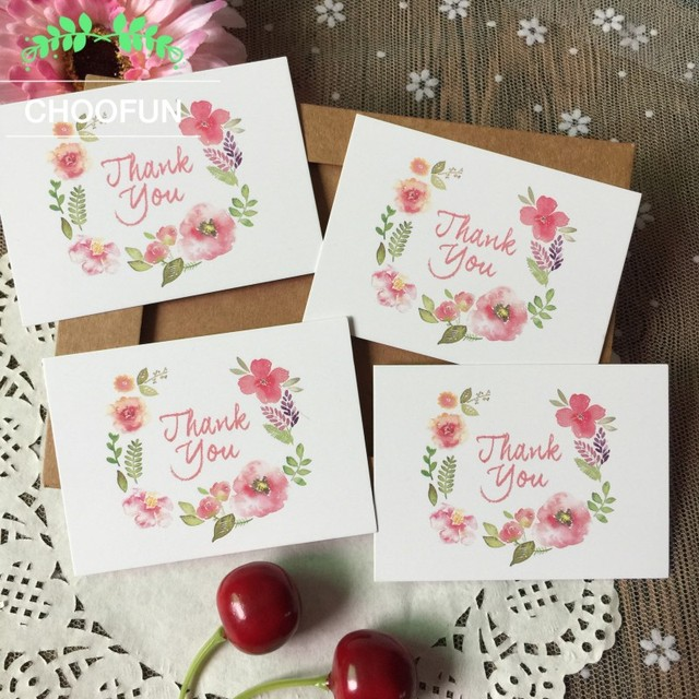 50pcs/lot THANK YOU and Flowers Style Paper Card Rewards Gift ...
