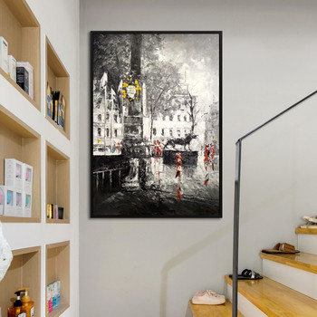 Canvas painting abstract cityscape Acrylic painting wall art pictures for living room home decor quadros caudros decoracion007