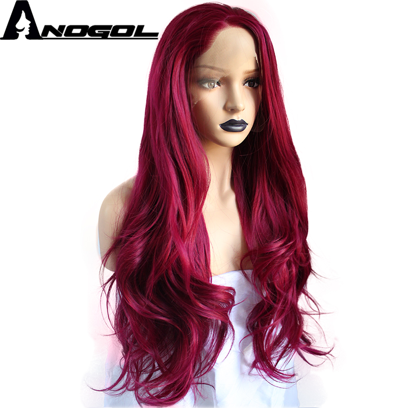 Anogol Burgundy Free Part High Temperature Fiber Long Natural Hairline Body Wave Wine Red Synthetic Lace