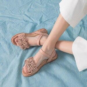 Image 5 - BeauToday Summer Sandals Sheepskin Genuine Leather Fringe Detailed Buckle Strap Women Rope Sole Flat Heel Shoes Handmade 32049