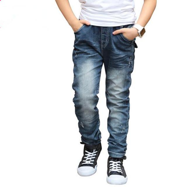 Nova Chegada 2016 Crianças Meninos Calças Jeans Estilo Coreano Primavera Verão Denim Sólidos Calças Compridas Crianças Roupas Menino Venda Quente