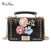 Winmax Women Leather Handbags 2017 Luxury Designer Appliques Floral Handbags For Female Chain Crossbody Bags Messenger