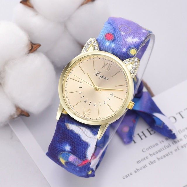 Lvpai Design Ladies Flower Cloth Wristwatch Fashion Women Dress Watch High Quali