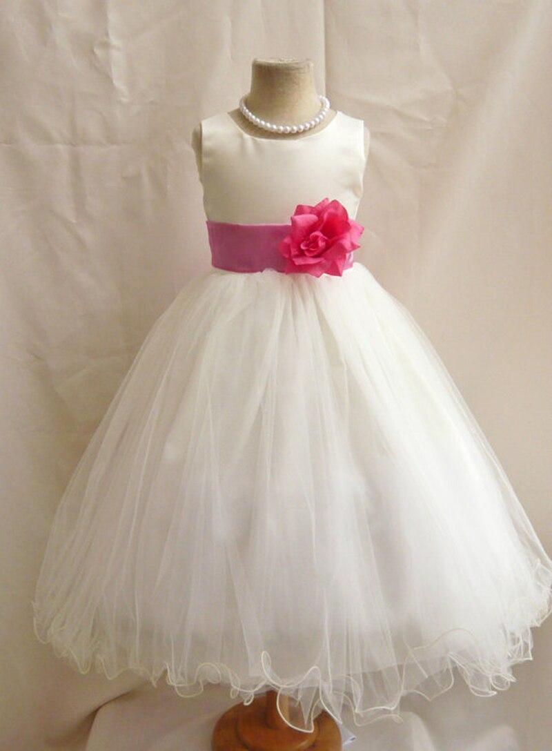 Baby White Wedding Party Chritening Dress Flower Girl Dress Tulle