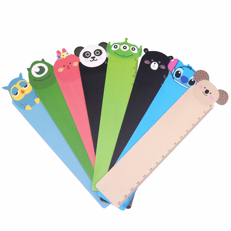 8 Pcs Mixed Student Learning Supplies 15cm Ruler Cute Little Animal Shape Drawing Painting Children's Rulers Registered Shipping
