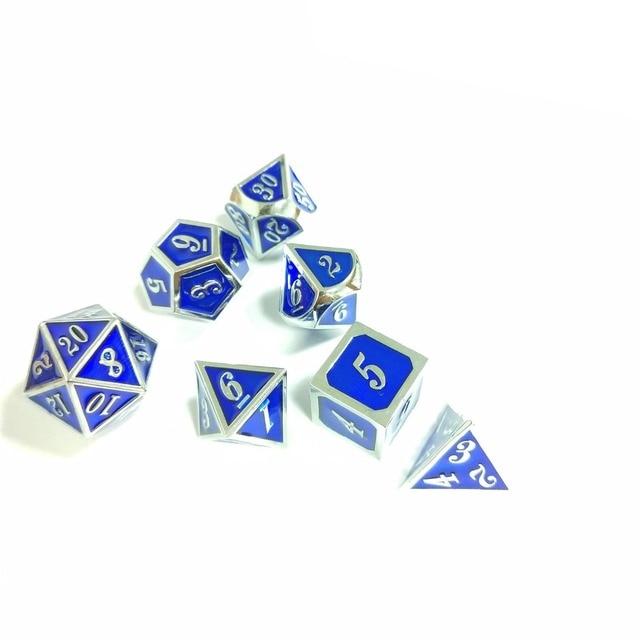 Nova fonte de Dungeons & Dragons 7 pçs/set Criativo Dice RPG D & D Dados DND Esmalte de Metal Escultura Em Números de Cromo cor de cobre