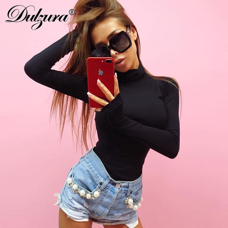 Dulzura coton 2018 automne hiver femmes sexy body à manches longues col haut rouge noir gris solide femme stretch skinny body