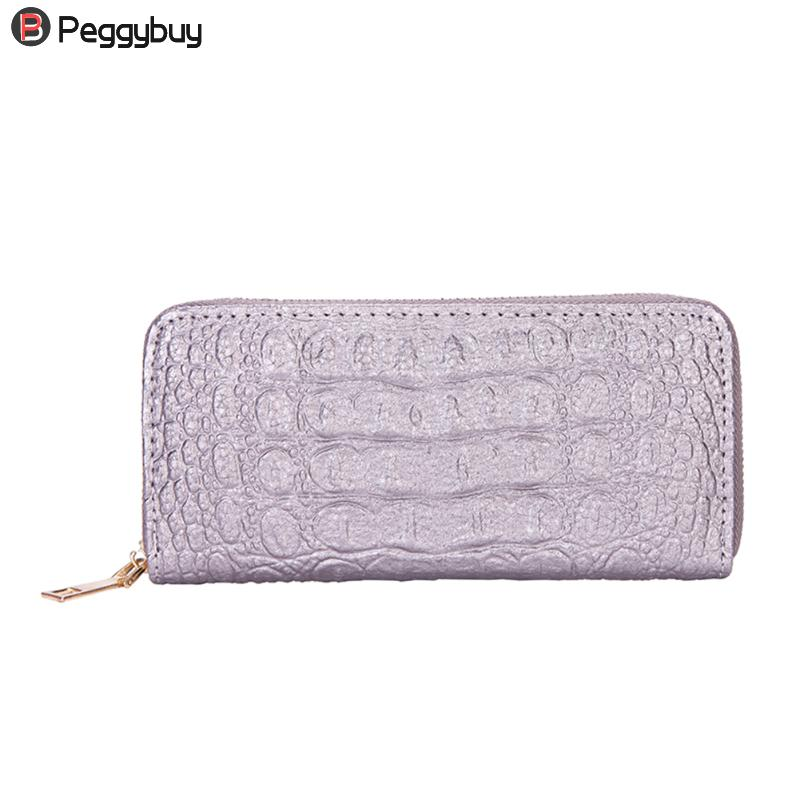 Ladies Leather Wallets 3D Crocodile Alligator Women Purse Clutch Long Female Wristlet Coin Purse Phone Pocket Bag Girls Wallet women genuine leather character embossed day clutches wristlet long wallets chains hand bag female shoulder clutch crossbody bag