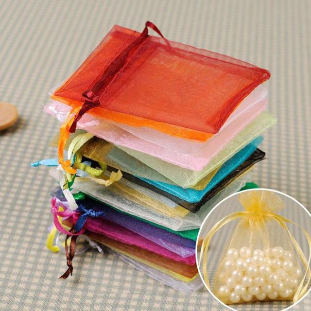 100 Pcs 9x12cm Premium Organza Wedding Favour Bags Gift Mini Jewelry Pure Yarn Bag 18