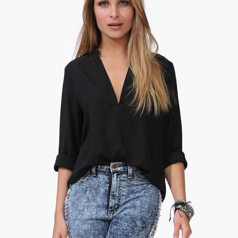 New Large size casual shirt women 's  2017 Spring New Fashion long - sleeved shirt V-Neck Black White Chiffon Tops chiffon