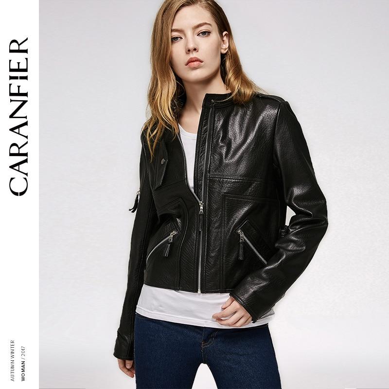 CARANFIER 2017 Women Genuine Leather Jacket Locomotive Short Fashion Top 100% Sheepskin Jacket Stand Casual Coat Leather Short