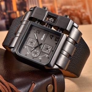 Image 1 - Oulm 3364 Casual Wristwatch Square Dial Wide Strap Mens Quartz Watch Luxury Brand Male Clock Super Big Men Watches montre homme