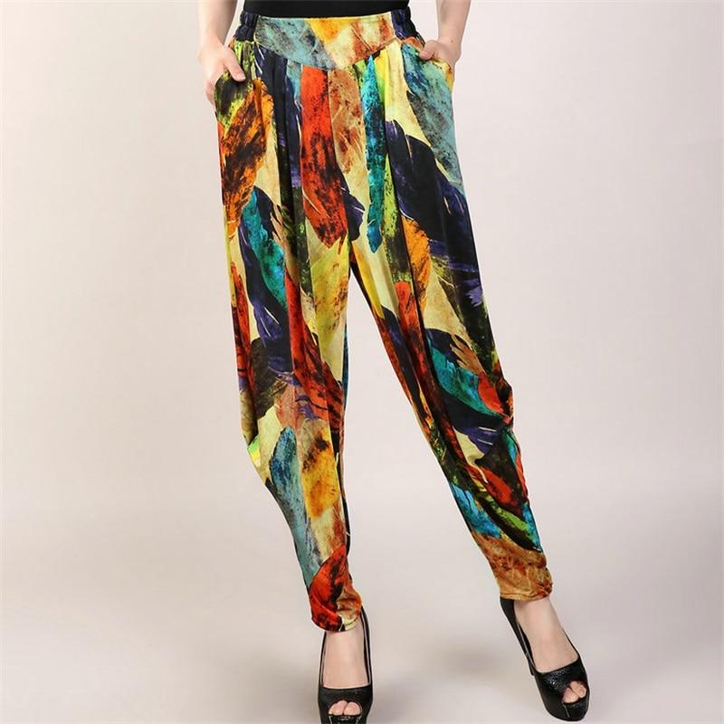 Women Vintage Wide Leg Pants Harem Pants Casual Female Large Size Loose Harem Trousers Printed Trousers Lantern Pants