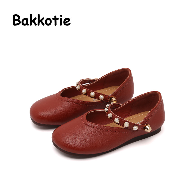 Bakkotie 2018 Spring Autumn New Fashion Pearl Mary Jane Pu Leather Loop Child Baby Princess Shoe Flat kid Brand Girl Soft Sole