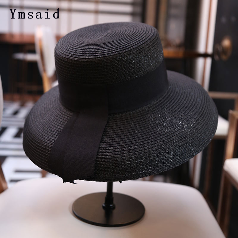 Ymsaid Women's Sun Hat Summer Beach Straw Hat Women Boater Hat With Ribbon Tie For Vacation Holiday Audrey Hepburn