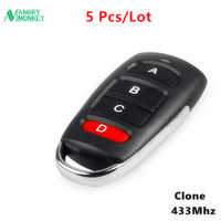 5 Pieces 433MHz wireless Copy Remote Control With Battery Garage Door Remote Control Backup Remote Key Clone 1527 PT2264 etc