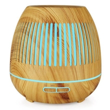 400Ml Aromatherapy Essential Oil Diffuser Wood Grain Hallow 7 Color Light Aroma Lamp Humidifier Home(Eu Plug)
