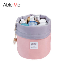 2017 New Barrel Shaped Storage Bag Travel Cosmetic Bag Large Capacity Drawstring Organizer Wash Bags Women Makeup Cosmetic Bags