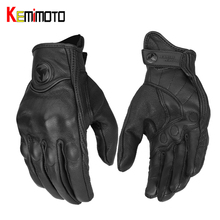цена на KEMiMOTO Real Leather Motorcycle Gloves Touch Screen Summer Men Cycling Moto Guantes Motorbike Protective Gears Motocross Glove