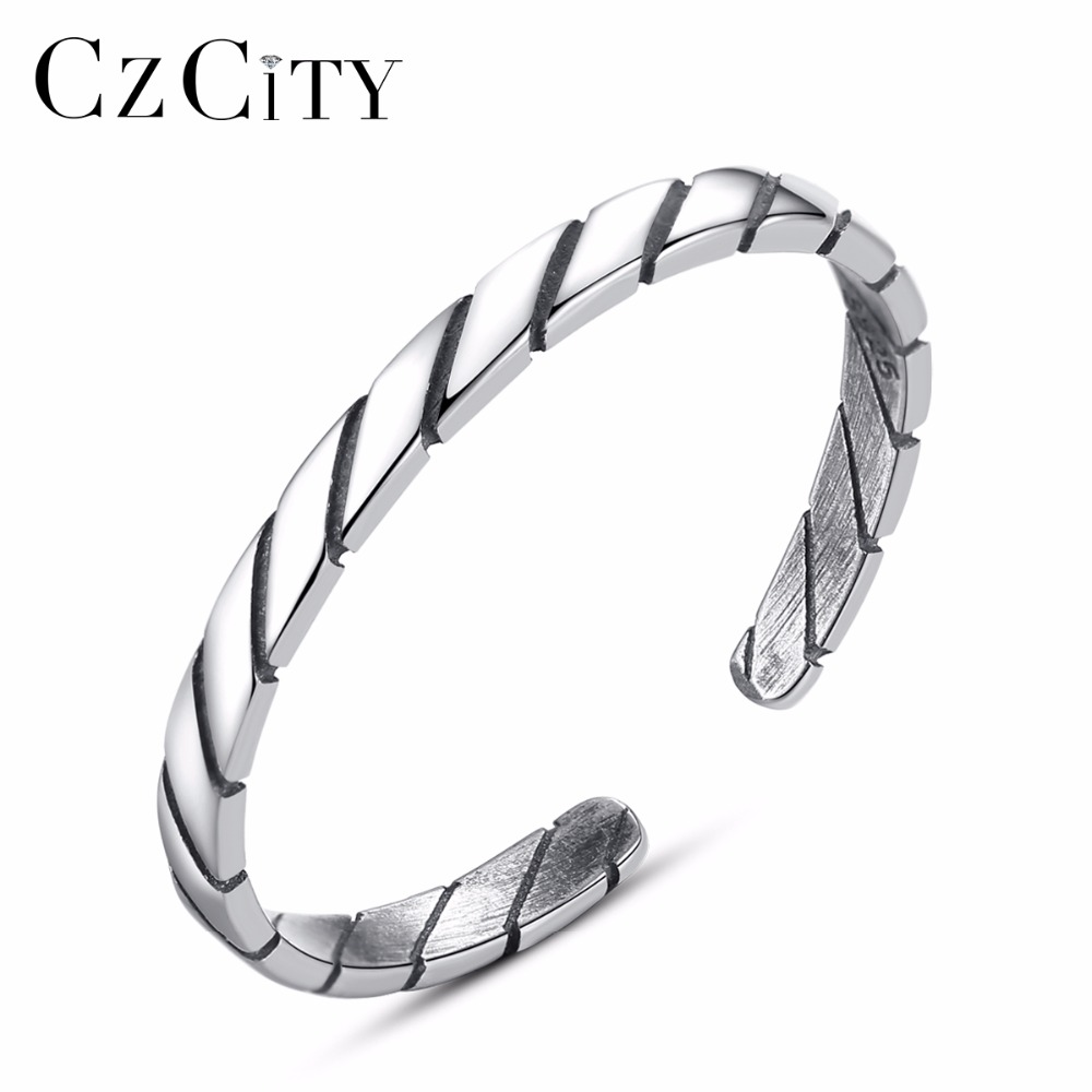 CZCITY Brands Genuine 100% 925 Sterling Silver Vintage Simple Thai Silver Finger Ring For Women Wedding Engagement Jewelry Gifts