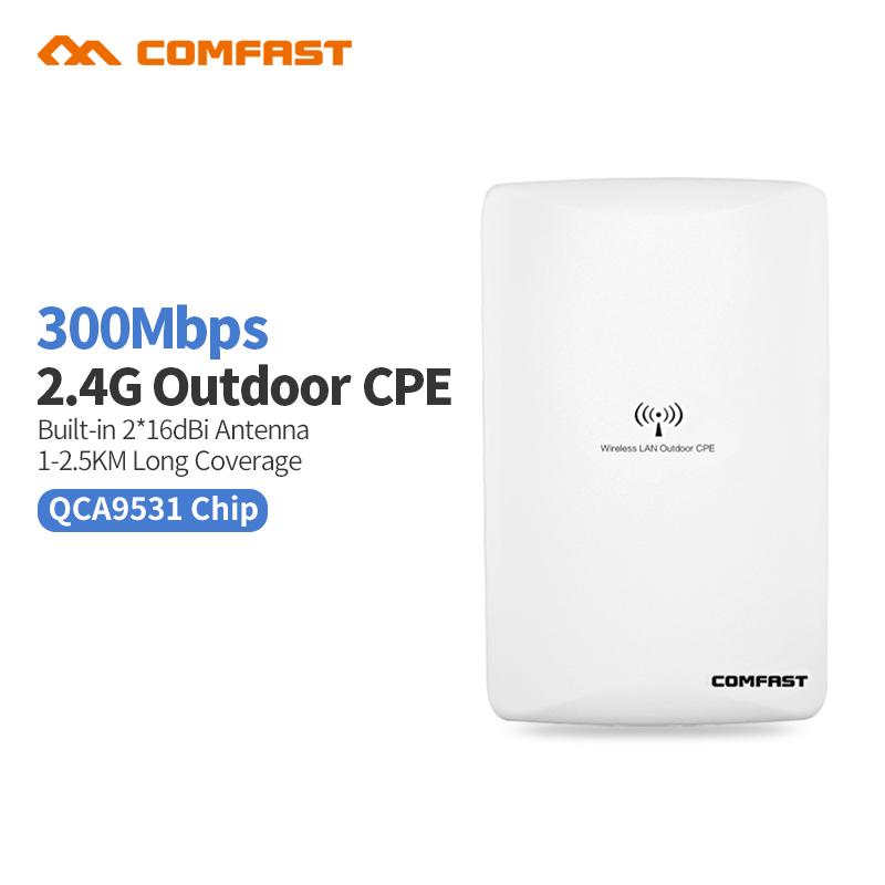 Prix pour Comfast cf-e316nv2 300 m longue portée sans fil en plein air wifi cpe ap qca9531 dual16dbi wi fi antenne réseau pont routeur pour l'école