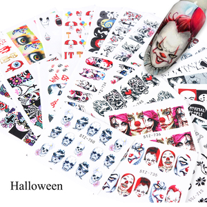 Image 5 - 24pcs Cool Halloween Sliders Nail Art Stickers DIY Water Temporary Tattoos Clown Skull Designs for Manicure Decals CHSTZ731 755