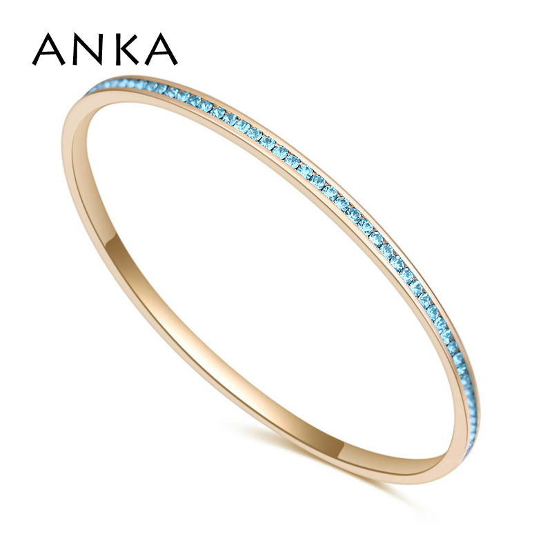 ANKA simple micro pave top zircon bangle for women gold color fashion brand jewelry bracelet wedding Christmas gift #26441