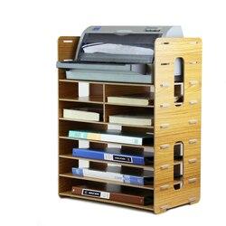 Многофункциональная деревянная стойка для файлов, держатель для файлов, утолщенная полка, лотки для документов, многослойная настольная ст...