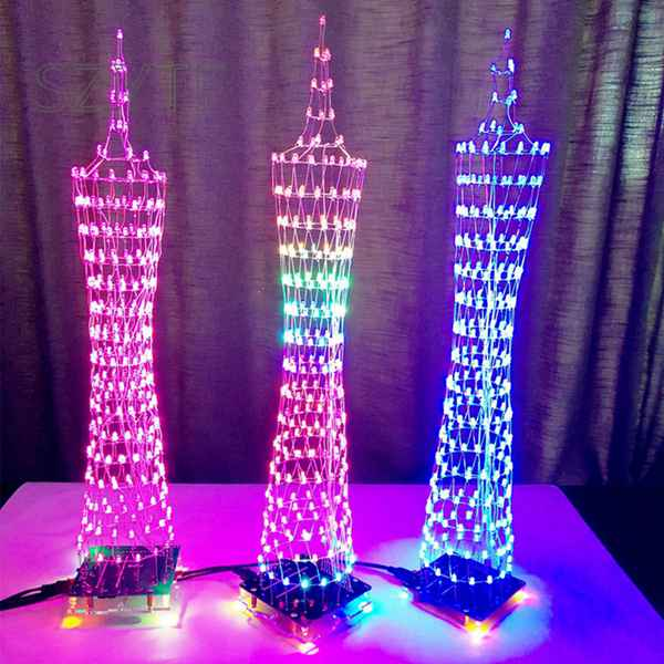 DIY LED Light Cube Canton Tower Suite Wireless Remote Control Electronic Kit Music Spectrum Soldering Kits DIY Brain-training