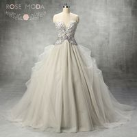 Luxury Illusion Deep Sweetheart Neck Silver Grey Tulle Ball Gown Pearl Beaded Corset Crystal Wedding Dress