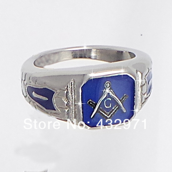 wholesale stainless steel antique blue masonic stone blue lodge signet  freemason ring for men drop shipping wholeslae for men-in Rings from  Jewelry &