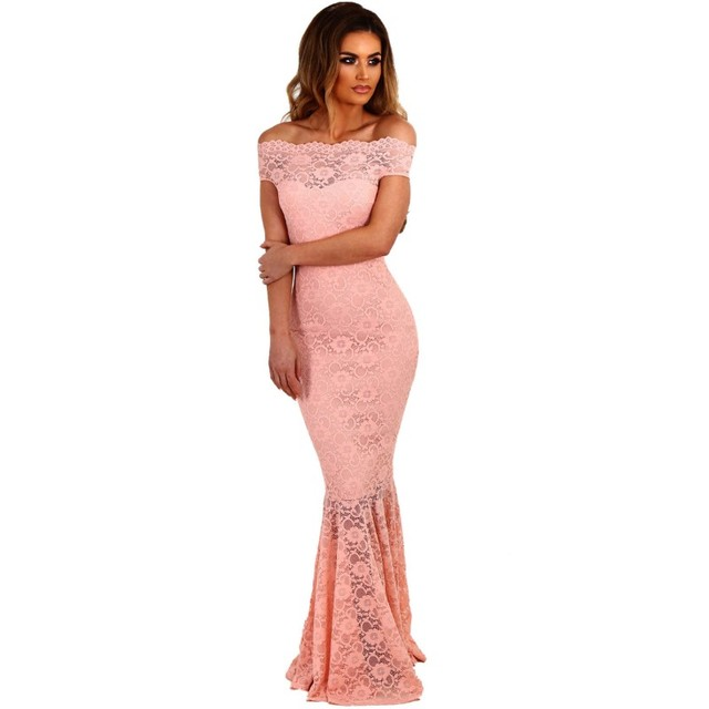 Light pink lace fabric for women dresses 2017 new hot sexy night club wear  fishtail Girls maxi dress long elegant gowns Q61481 426b9faff