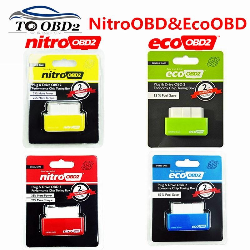 Super ECO NitroOBD2 Gasoline Benzine Cars Chip Tuning Box Nitro OBD Plug & Drive Nitro OBD2 35% More Power 25% More Torque
