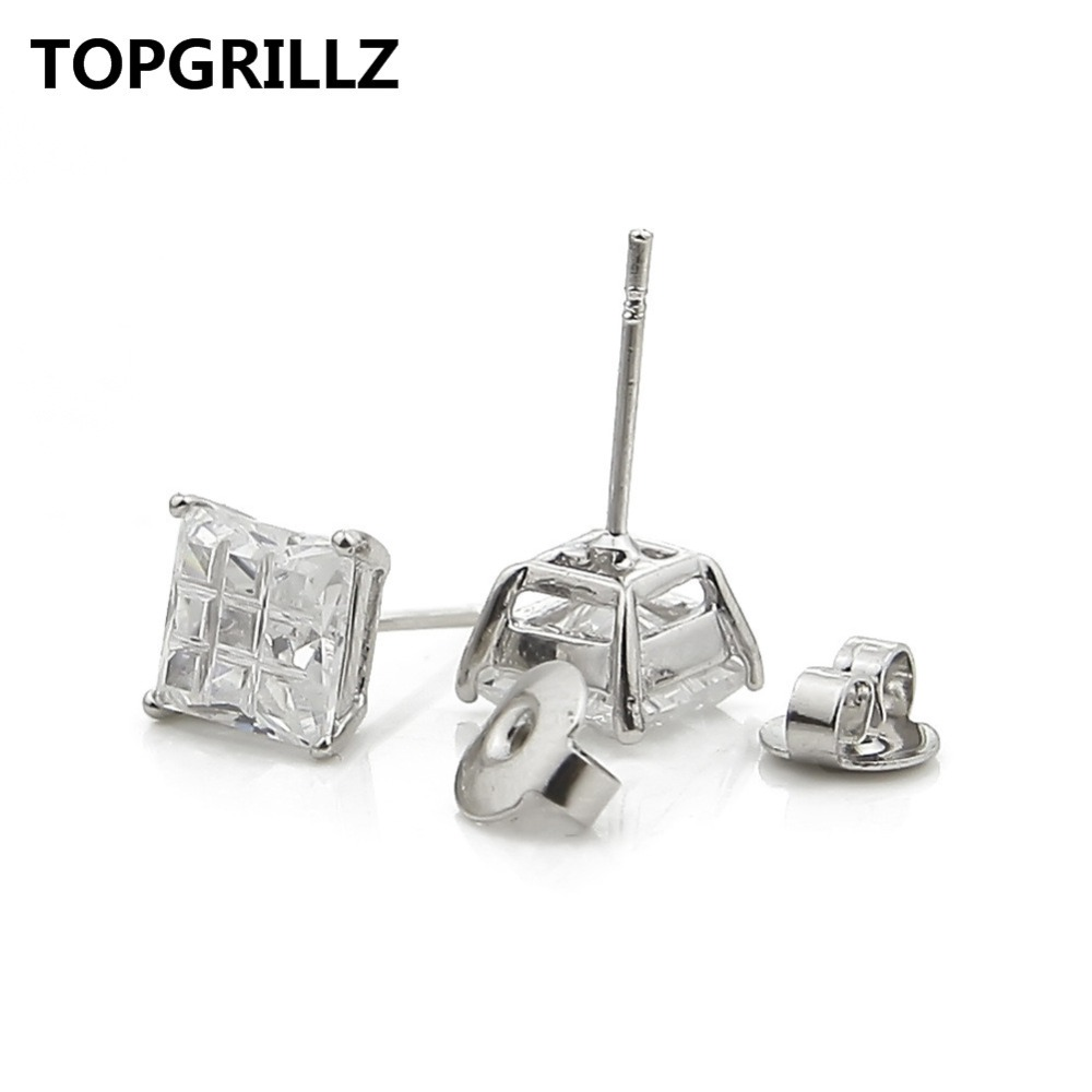 TOPGRILLZ Hip Hop Square Micro Pave Cubic Zircon Stud Earrings Silver Color Plated Earrings Fashion Jewelries For Women&Men